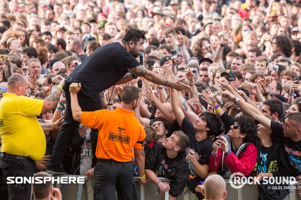 While Deftones' Chino Moreno got down with the crowd...