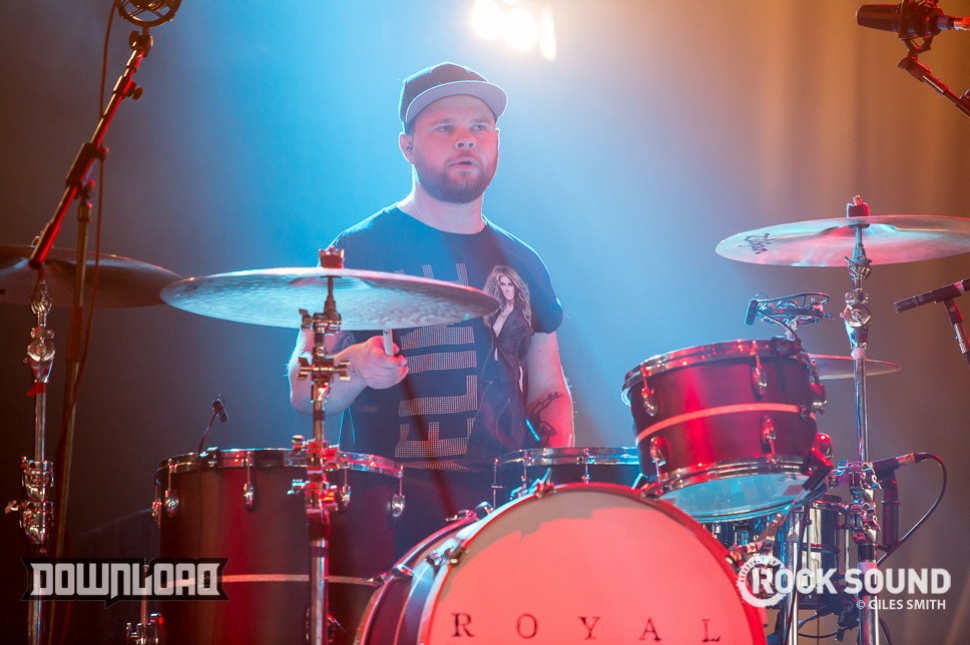 Two men showing a tent what they're made of: it's Royal Blood at Download 2014