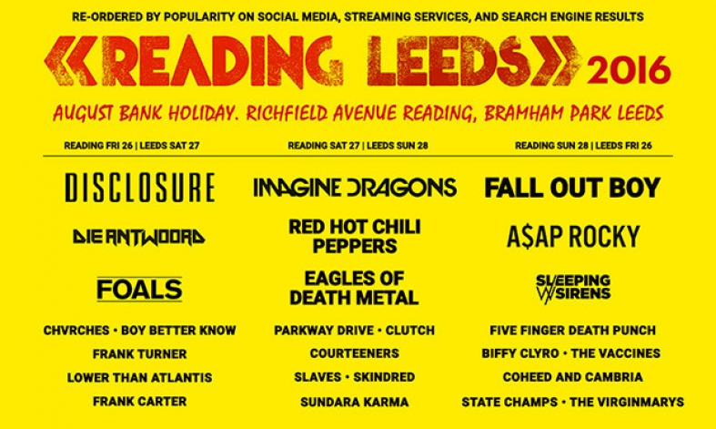 Somebody Re-Ordered The Reading & Leeds Festival Line-Up